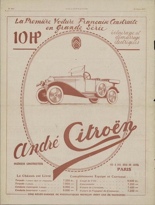 Advertisement for Citroën A Type